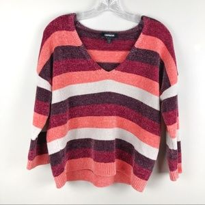 EXPRESS V-Neck Chunky Fall Colored Striped Sweater